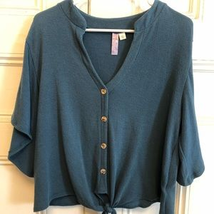 Teal blue button tie front shirt